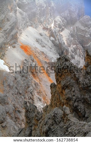 Eroded Staunies saddle in Monte Cristallo, Dolomite Alps, Italy