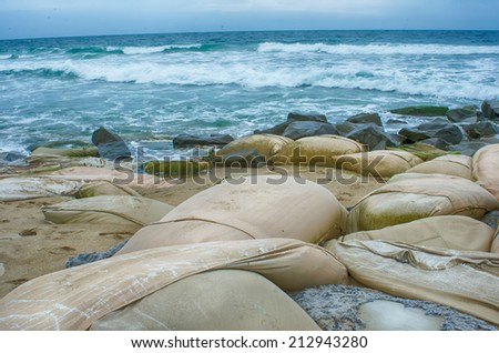 eroding    coastlines throughout the east coast and the world - stock photo