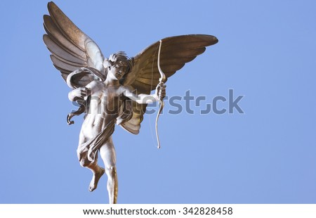 Eros statue  in Picadilly Circus - stock photo