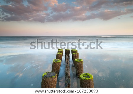 Erosion Control Structure Folly Beach Charleston South Carolina Atlantic Ocean - stock photo