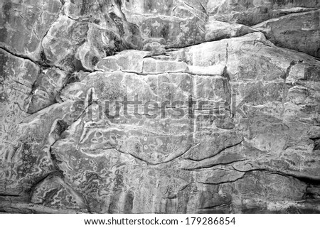 Erosion creates amazing textures and patterns in the St. Peter sandstone walls of Tonty Canyon at Starved Rock state park, LaSalle County, Illinois. - stock photo