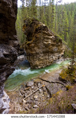 Erosion Effects of Johnston Canyon in Banff National Park - stock photo