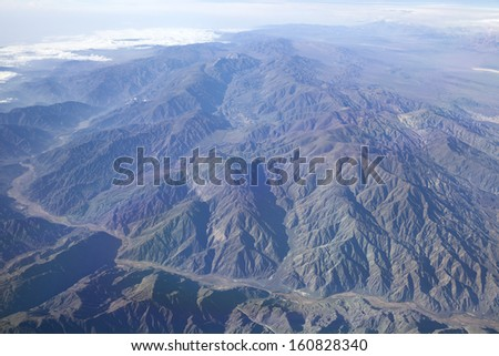 Erosion pattern in the Andes mountains - stock photo