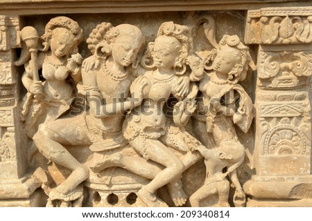 Erotic detail of the Harshat Mata temple in Abhaneri, Baswa subdistrict, the state of Rajasthan in India.