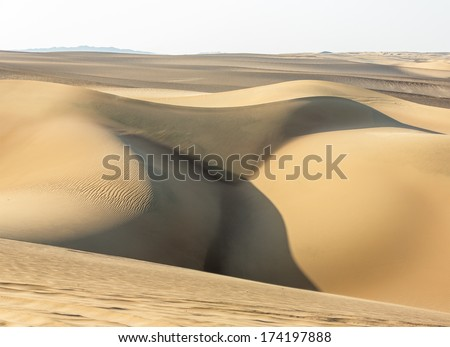 Erotic dunes in the Atacama Desert - Oasis of Huacachina, Peru, South America - stock photo