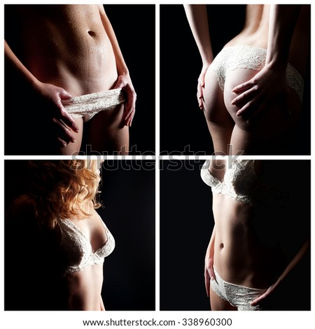 Erotic female body parts, beauty concept, four closeups of an attractive underwear model - stock photo
