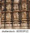 Erotic Temple in Khajuraho. Madhya Pradesh, India. - stock photo