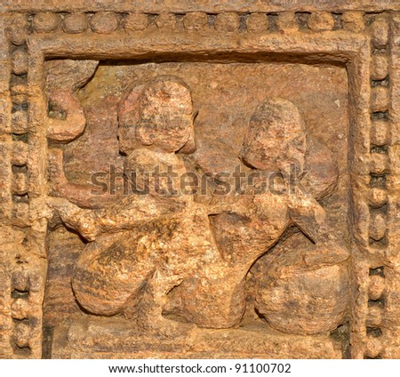 Erotic voluptuous sculptures at Sun temple Konark, Orissa, India - stock photo