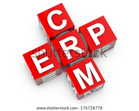 ERP and CRM Enterprice Resource Planning and Customer Relationship Management - stock photo