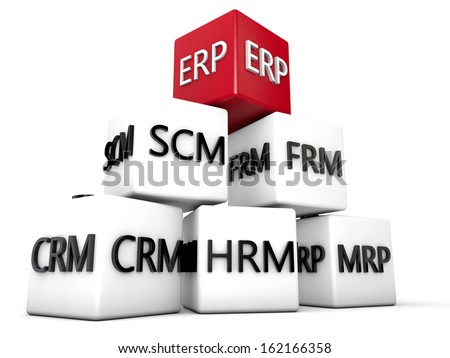 ERP and relevant Symbolic Cubes over white Background - stock photo
