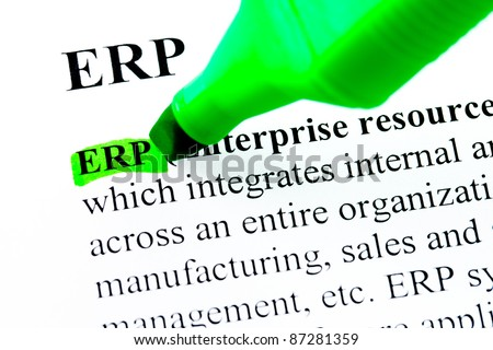 ERP enterprise resource planning definition highlighted by green marker