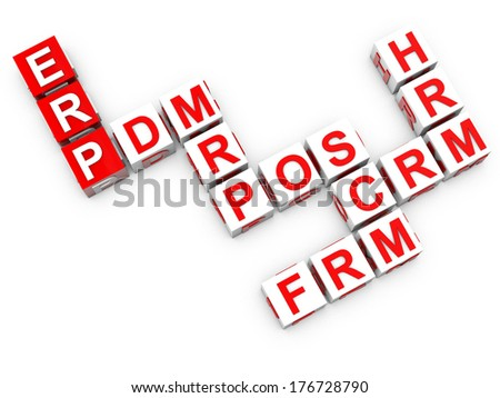 ERP Enterprise Resource Planning over white background - stock photo