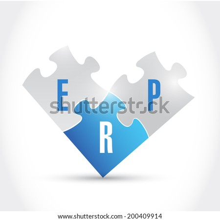 erp puzzle pieces illustration design over a white background - stock photo