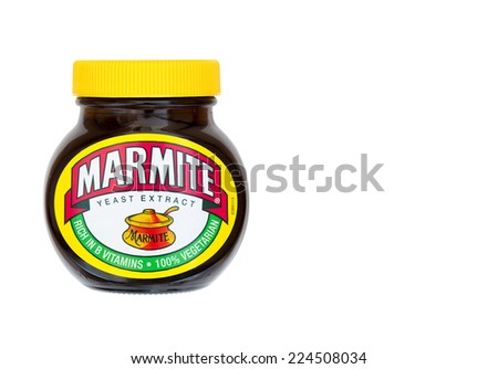 ERPEL, GERMANY 19TH OCTOBER 2014: Marmite is a nutritious savoury spread produced by Unilever in the UK, the distinctive taste is reflected in the companys advertising slogan - 'Love it or hate it' - stock photo