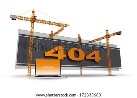 Error 404 Construction Site Illustration with Cranes and Laptop Computer. Error 404 Abstract Image For Website 404 Pages. Internet Concept