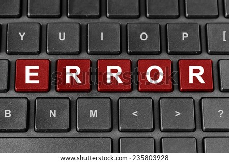 ERROR red word on keyboard, problem concept - stock photo