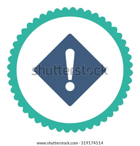 Error round stamp icon. This flat glyph symbol is drawn with cobalt and cyan colors on a white background. - stock photo