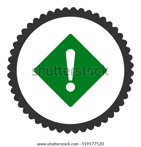 Error round stamp icon. This flat glyph symbol is drawn with green and gray colors on a white background. - stock photo