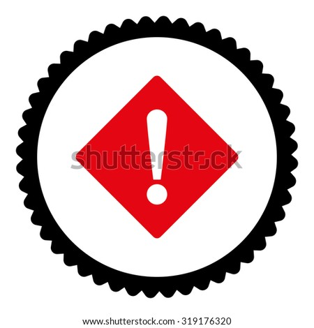 Error round stamp icon. This flat glyph symbol is drawn with intensive red and black colors on a white background. - stock photo