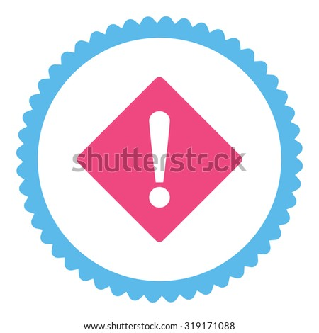 Error round stamp icon. This flat glyph symbol is drawn with pink and blue colors on a white background. - stock photo
