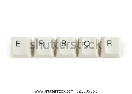 error text from scattered keyboard keys isolated on white background