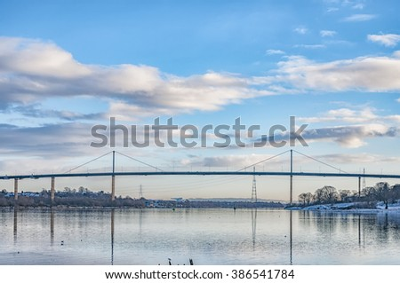 Erskine bridge spanning the river clyde in Scotland - stock photo