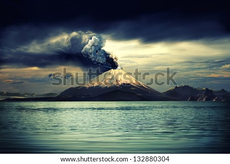 Erupting volcano near water - illustration - stock photo