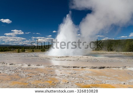 Eruption at the Great Fountain, Yellowstone National Park, Wyoming, USA