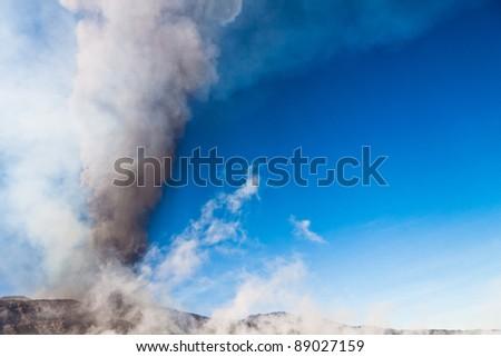 Eruption Etna - stock photo