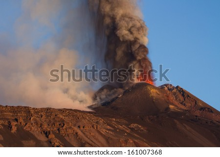 Eruption Etna - lava fountains - stock photo