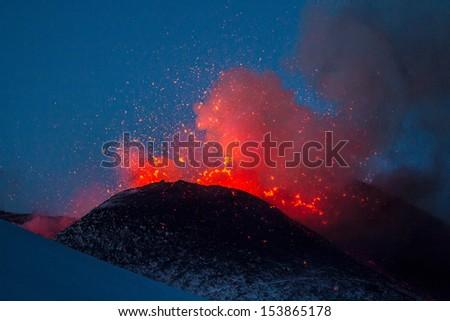 Eruption Etna 16 march 2013 - stock photo