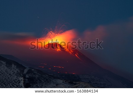Eruption Etna November - stock photo