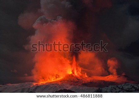 Eruption of the volcano Mount Etna