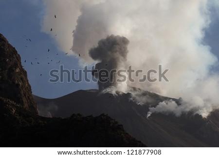 eruption of volcano - stock photo