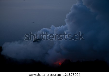 eruption of volcano - stock photo