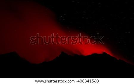 eruption of volcano Stromboli (aeolian islands / Italy) - stock photo
