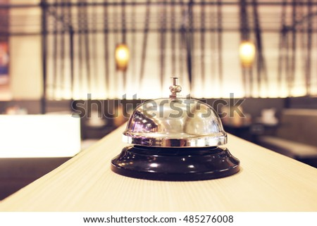 ervice bell at the restaurant with bokeh blur background