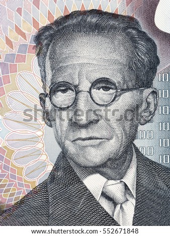 Erwin Schrodinger portrait from Austrian money