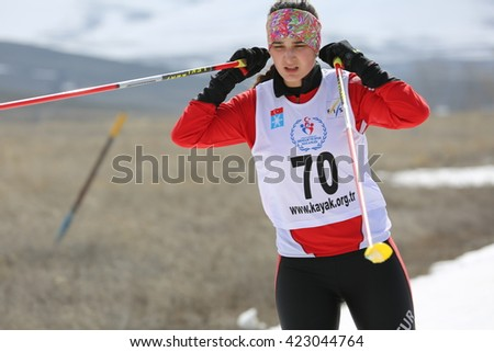 Erzurum, Turkey - March 23, 2016 : People competes  during the Cross-Country Skiing  Unilig University winter championship on March 23, 2016 in Erzurum, Turkey.