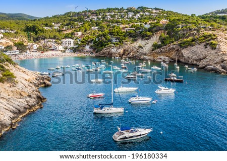 Es vedra island of Ibiza  Cala d Hort in Balearic islands - stock photo