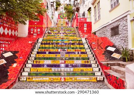 Escadaria Selaron famous public steps of artist Jorge Selaron in Rio de Janeiro, Brazil. - stock photo
