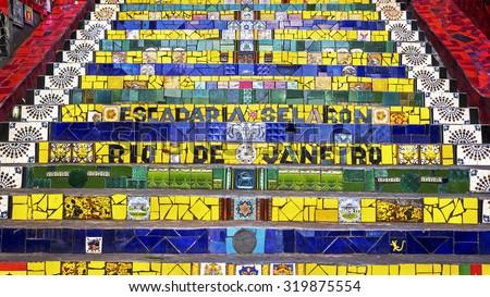 Escadaria Selaron, or Lapa Steps, in Rio de Janeiro, Brazil.  - stock photo
