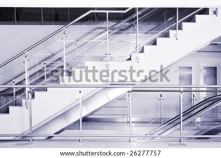 Escalator and stairs in the business center