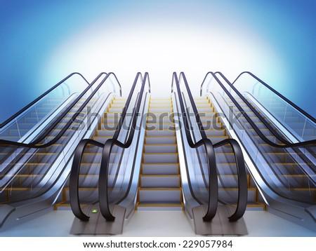 Escalator. High resolution 3d render - stock photo