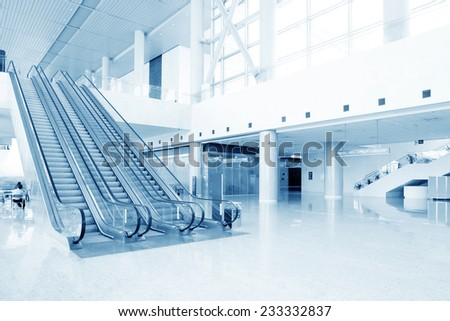 escalator in modern building hall