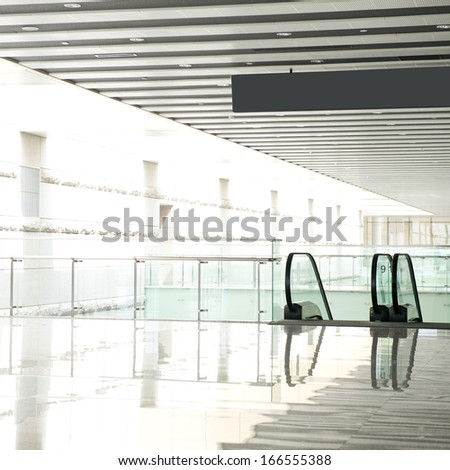 escalator in new modern building. - stock photo
