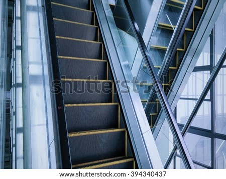 Escalator in new modern building