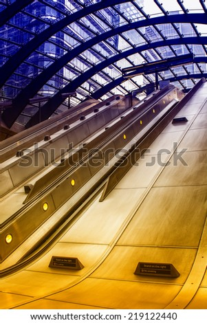 Escalator in the underground station, London. - stock photo