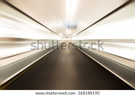 escalator ,interior of the shanghai pudong airport . - stock photo