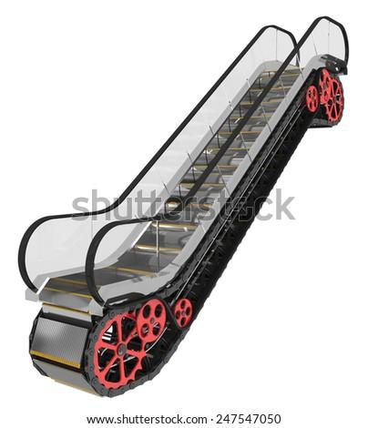 Escalator isolated on white - stock photo